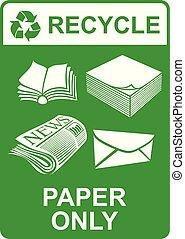 -, segno, carta, soltanto, vettore, riciclare