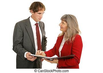 -, serie, figure, riesaminazione, vendite, mentoring