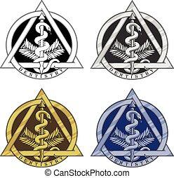 -, simbolo, odontoiatria, quattro, versions