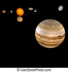 -, sistema, solare, giove