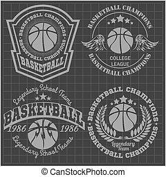 -, t-shirt, pallacanestro, campionato, emblema