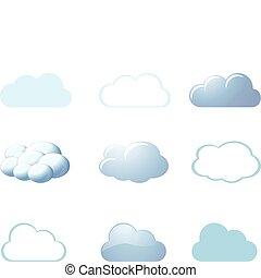 -, tempo, nubi, icone