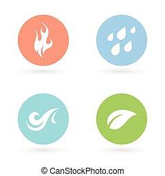 -, terra, quattro elementi, naturale, icone, aria., acqua, fuoco