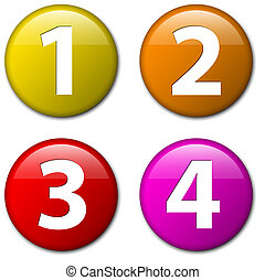 -, tre, due, quattro, vettore, numeri, uno, tesserati magnetici