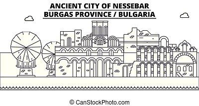 -, vector., burgas, famoso, nessebar, panorama, bulgaria, punto di riferimento, viaggiare, lineare, illustrazione, orizzonte