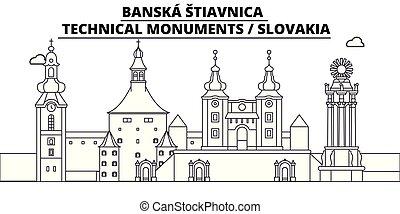 -, vector., famoso, panorama, stiavnica, punto di riferimento, banska, viaggiare, lineare, illustrazione, orizzonte, slovacchia