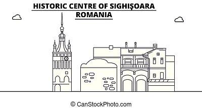 -, vector., famoso, romania, sighisoara, panorama, punto di riferimento, viaggiare, lineare, illustrazione, orizzonte