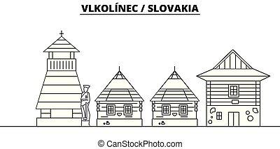 -, vector., famoso, vlkolinec, panorama, punto di riferimento, viaggiare, lineare, illustrazione, orizzonte, slovacchia