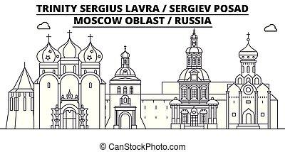 -, vector., lavra, famoso, panorama, punto di riferimento, sergiev, russia, viaggiare, lineare, illustrazione, orizzonte, posad