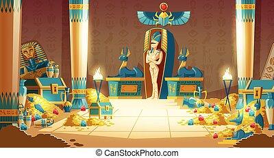 -, vettore, egiziano, sarcofago, pyramid., faraone, cartone animato, tomba