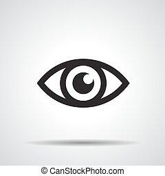 -, vettore, illustrazione, icona, occhio