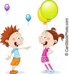 -, vettore, palloni, cartone animato, bambini, illustrazione