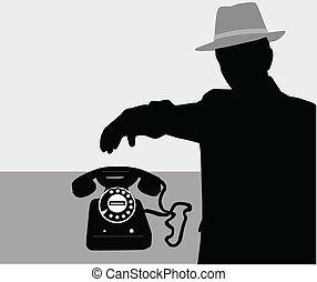 -, vettore, silhouette, uomo, telefono