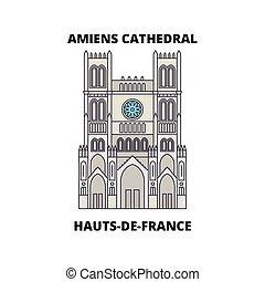 -, viaggiare, linea, vettore, design., hauts-de-france, amiens, punto di riferimento, orizzonte, lineare, illustration., cattedrale