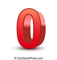 0, baluginante, numero, rosso, 3d