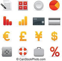 01, finanza, icone, serie, set,  , rosso