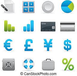 01, indaco, finanza, icone, serie,  
