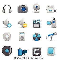 01, indaco, icone, multimedia, serie,  
