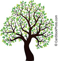 1, albero, tema, frondoso, silhouette