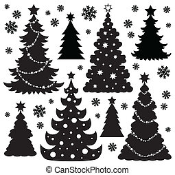 1, albero, tema, silhouette, natale
