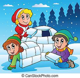 1, bambini, scena inverno