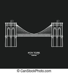 1, brooklyn, icona, ponte