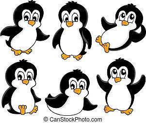 1, carino, pinguini, collezione