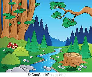 1, cartone animato, paesaggio, foresta