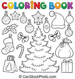 1, decorazione, libro colorante, natale