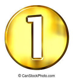 1, dorato, 3d, numero, incorniciato