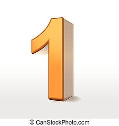 1, dorato, numero, 3d