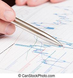 1, finanziario, -, diagramma, penna, relazione, uomo affari, indicare, rapporto