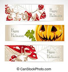 1, halloween, orizzontale, bandiera, felice