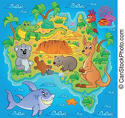 1, mappa, australiano, tema, immagine