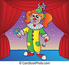 1, ragazza, pagliaccio circo, palcoscenico