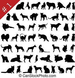 1, silhouette, #, animali domestici