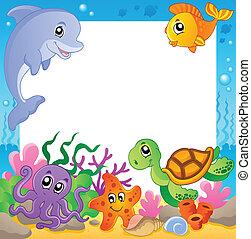 1, subacqueo, cornice, animali