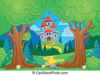 1, tema, albero, castello