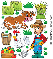 1, tema, set, contadino