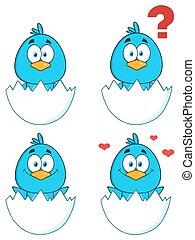 1., uccello, carattere, blu, collezione