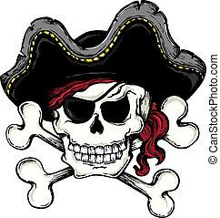 1, vendemmia, tema, pirata, cranio