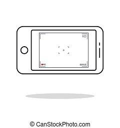 10., application., moderno, schermo, time., eps, smartphone, illustration., utente, registrazione, vettore, focalizzazione, macchina fotografica, interfaccia, viewfinder.