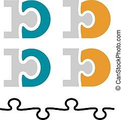 10, d, dieci, puzzle, numero, lettera, collegato