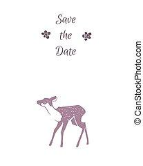 10, deer., eps, illustrazione, matrimonio