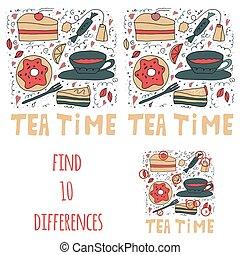 10, differences., set, donuts, dolce, sweets., tè, stuffs., trovare, torte