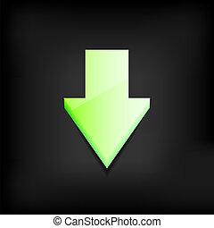 10, eps, scuro, fondo., vettore, verde, freccia