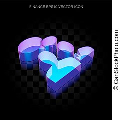10, fatto, vetro, affari, neon, eps, icon:, ardendo, vector., riunione, 3d
