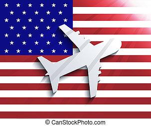 10, fondo., viaggiare, eps, aeroplano., bandiera, vettore