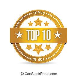 10, francobollo, cima, illustrazione, disegno, sigillo