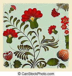 10, petrikov, ucraino, vendemmia, nazionale, ornamento, eps, fondo., floreale, painting.